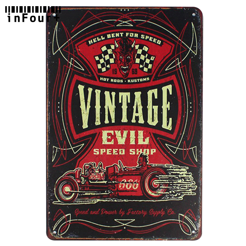 Vintage Evil Speed Shop Bar Wall Decor Metal Sign Vintage Home Decor Tin Sign Retro Metal Plaque Cool Metal Plate Metal Poster ...