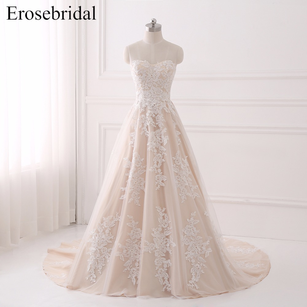 Real Image 2018 Wedding Dress Lace Bridal Gown Erosebridal Plus Size Wedding Dresses Lace Up Back Vestido De Noiva R-28