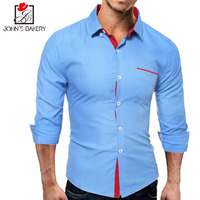 2017 New Fashion Brand Men Shirt Wave Point Dress Shirt Long Sleeve Slim Fit Camisa Masculina