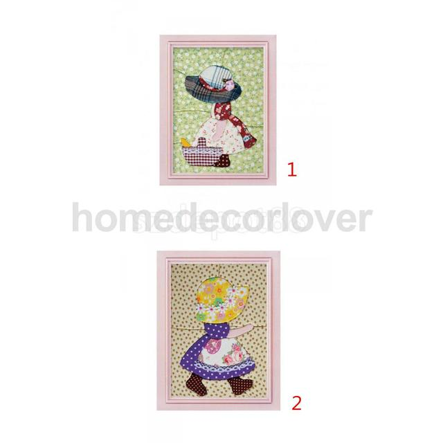 DIY Picture Stick Cloth Art Mosaic Painting Kit Countryside Girl w ...