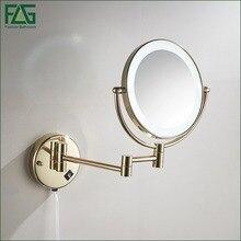 Золотой Латуни Свет Макияж Зеркал 8 «круглые Двойные Стороны 3X/1X Зеркала Ванная Комната, Косметическое Зеркало, Увеличительное Зеркало Настенное Крепление