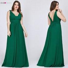 Grande taille robes de bal 2020 Ever Pretty femmes élégant col en v en mousseline de soie bleu marine a ligne sans manches bordeaux longues robes de soirée