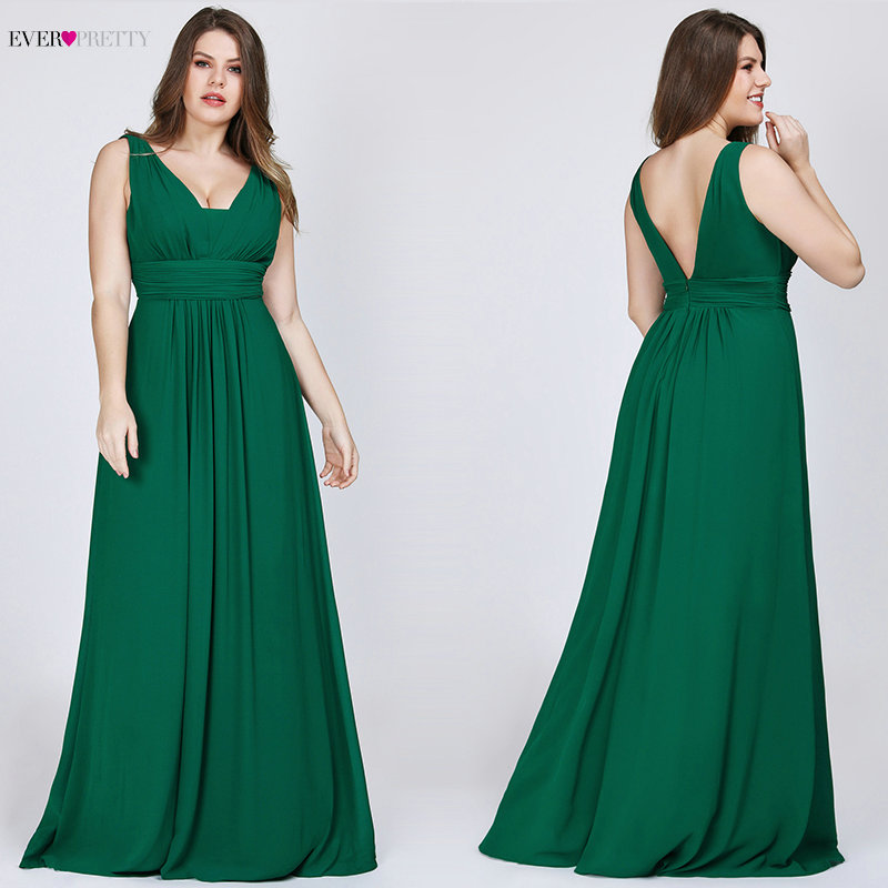 Plus Size Prom Dresses 2019 Ever Pretty Women's Elegant V-neck Chiffon Navy Blue A-line Sleeveless Burgundy Long Party Gowns
