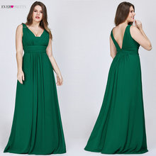 Plus Size Prom Dresses 2020 Ooit Pretty Vrouwen Elegante V hals Chiffon Navy Blue A lijn Mouwloos Bourgondië Lange Partij Jassen