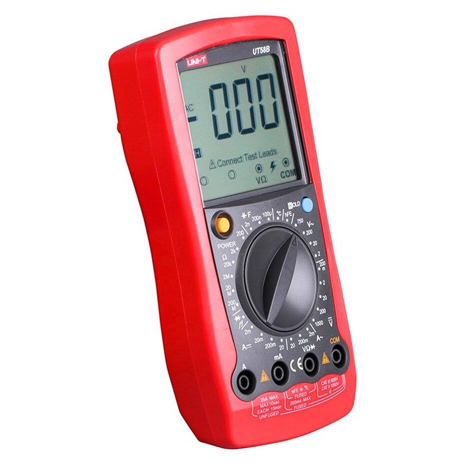 UNI T UT58A UT58B UT58C UT58D UT58E multímetro Digital multímetro voltios capacitancia LCD AVO medidor prueba de temperatura multímetro - 2