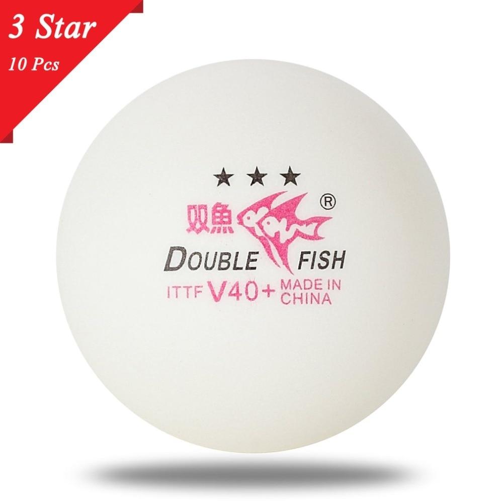 цена на New 10pcs/set Double Fish V40+ 3 Stars 40mm White Table Tennis Balls ABS Plastic Seamed Balls Training Ping Pong Balls