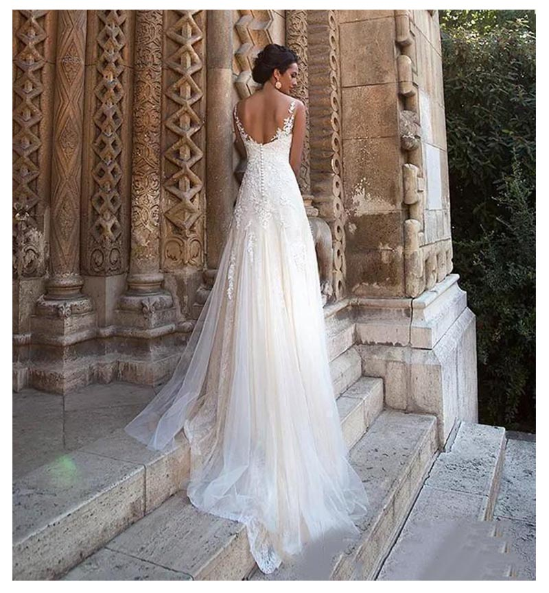LORIE Boho Wedding Dress Beads Appliques A Line Vintage Princess Wedding Gown Puff Tulle Skirt Beach Bride Dress 2019 in Wedding Dresses from Weddings Events