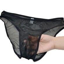 Sexy Men's Brief Male viscose transparent low-waist briefs p