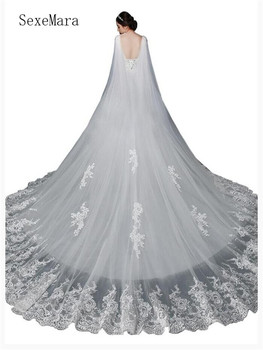 High Quality In Stock Cathedral Veil White Lace Appliques Prepared for Wedding Custom Made Any Color and Any Length New Arrivals