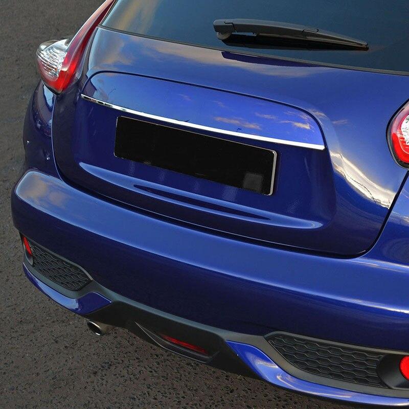 Для Nissan JUKE 2011- задняя крышка ворота отделка хромированная Задняя ручка двери багажника кромка литье багажника полоса сталь