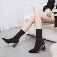 Boots Women 2019 autumn winter new pointed short tube elastic stockings boots wild thick heel boots high heel boots eu 34-39