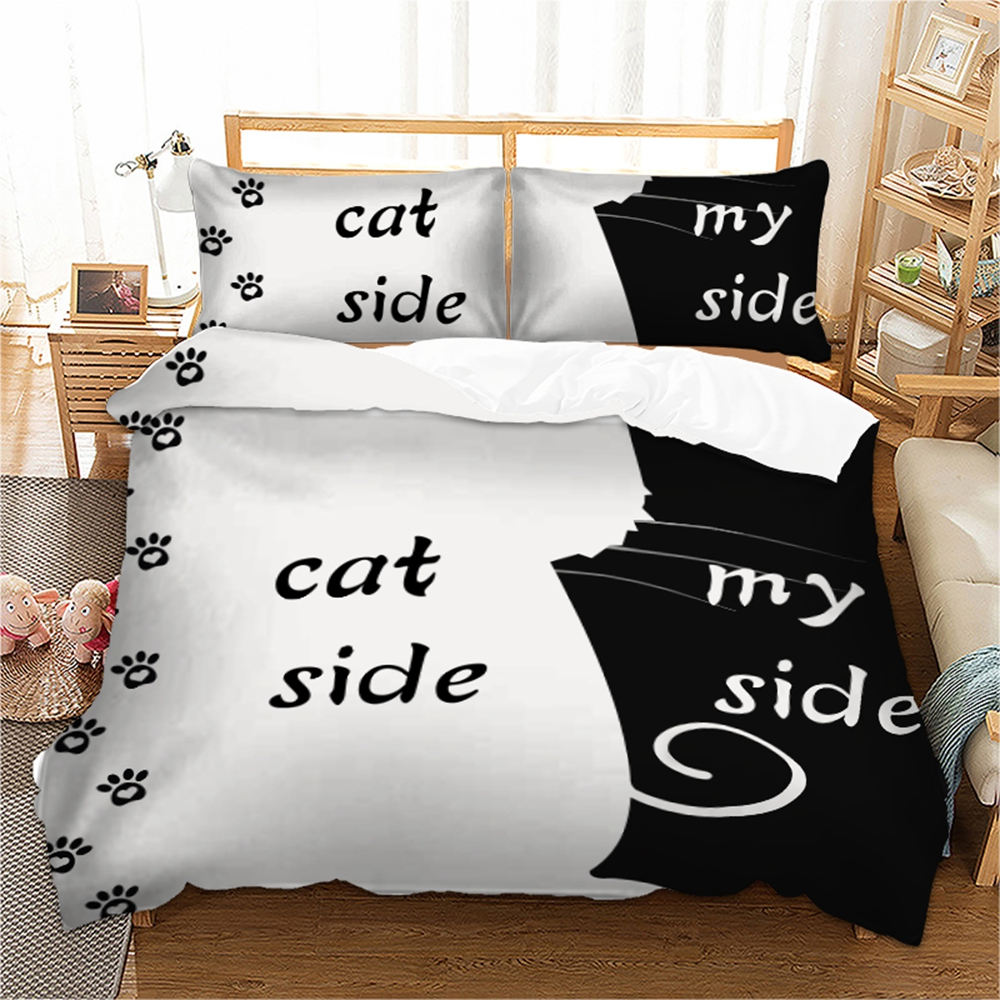Animal Cat Print Bedding Set Duvet Quilt Cover Pillowcases Twin