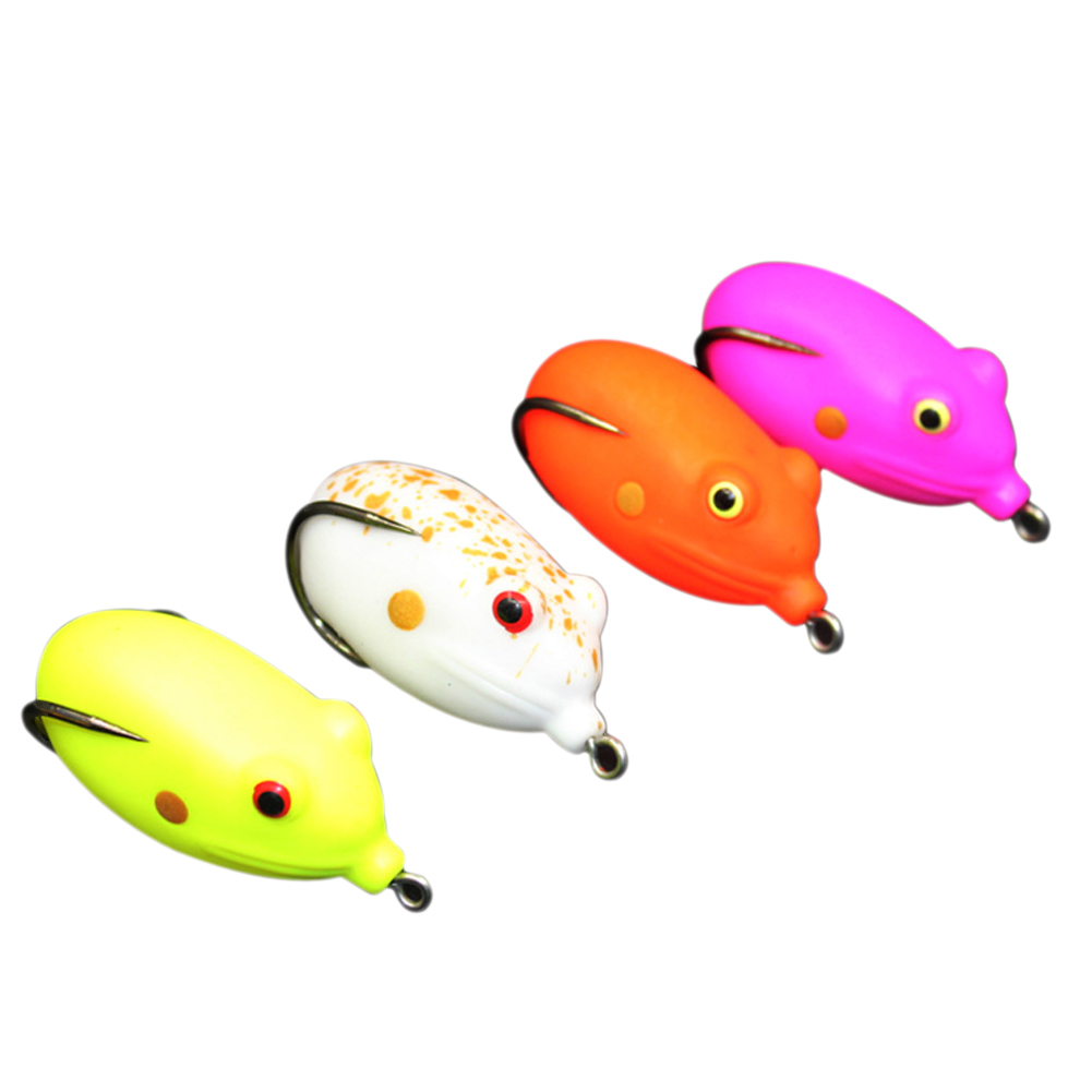 4 Pcs Egg Shape Ray Frog Hook Soft Fishing Lures Bass Crank Bait Sinking Practical Outdoor Fishing Tool  US#V