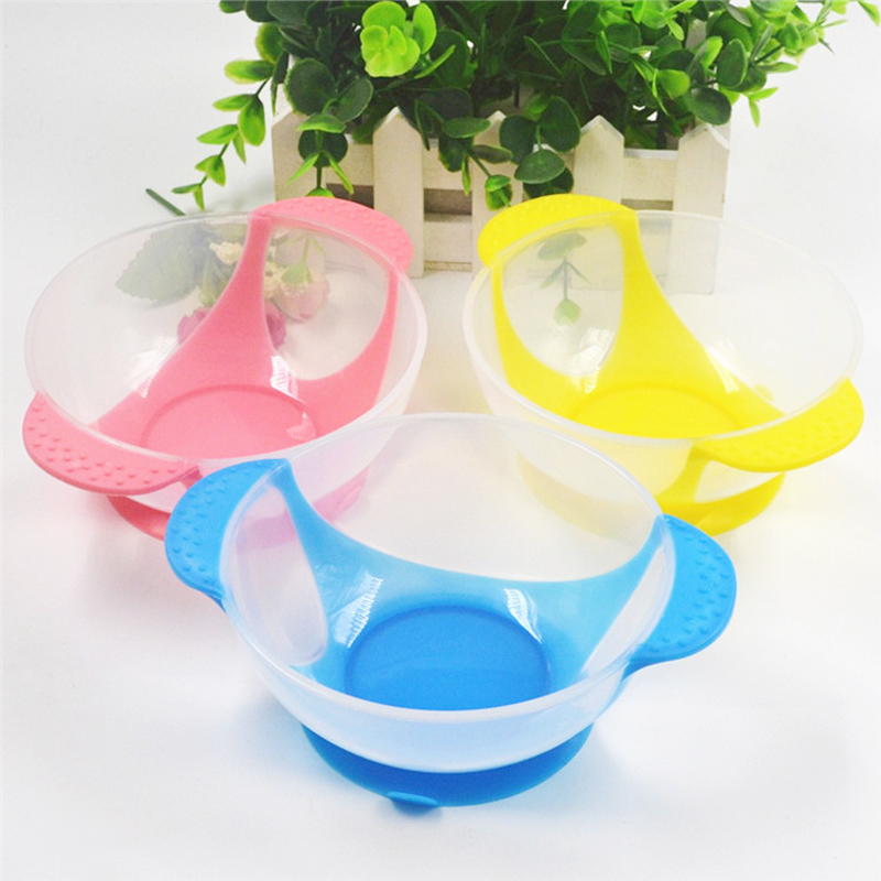 1 Pc Baby Infant Safety Feeding Bowl Lid Sucker Temperature Sensing Spoon  Newborn Suction Cup Kids Slip Resistant Tableware Set