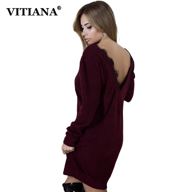4d5763245b5a VITIANA Women Loose Casual Dresses Female Elegant Autumn Winter Black Long  Sleeve Lace Patchwork Sexy Mini Short Party Dress