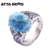 Natural Larimar Sterling Silver Rings Unisex 14.8 Carats Natural Larimar Gemstone Ring Women Wedding Engagement Silver Jewelry