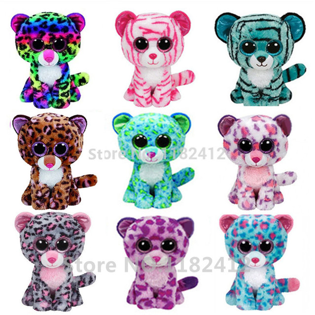 70842e2e9aa Ty Beanie Boos Leopard Tiger Leona Tasha Dotty Glamour Tess Asia Patches  Sydney Plush Toys Big Eyed Stuffed Animal 15cm 6