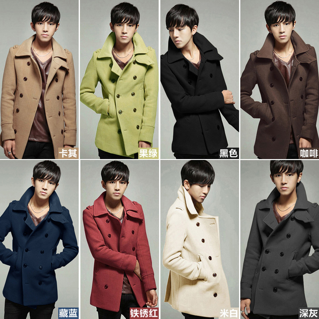 Brand new 2013 autumn winter fashion men's casual classic unique front double male Nylon overcoats Wholesale man's topcoat
