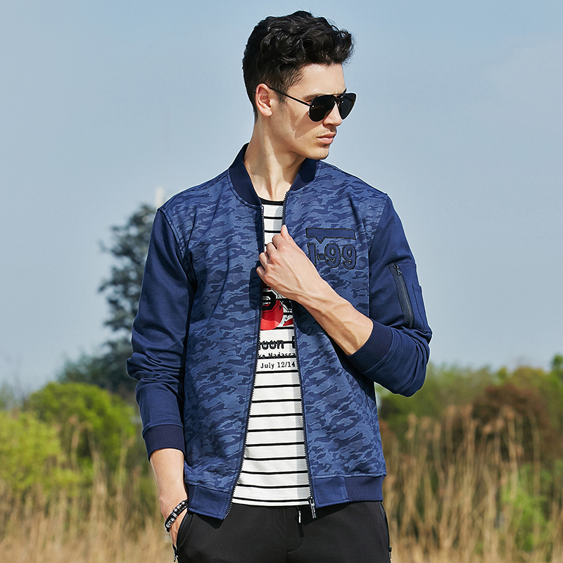 Pioneer Camp New spring autumn blue camouflage jacket men brand clothing quality elastic military style male jacket coat 620039
