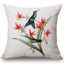 Free Shipping Custom New Flowers And Birds Printing Linen Cotton Decorative Throw Pillow Cushion For Office
