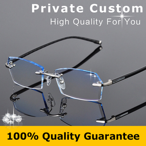 2016 Fashion Eyeglasses for Men Rimless Myopia Prescription Glasses Online Square Optical Anti Radiation Glasses Computer 612
