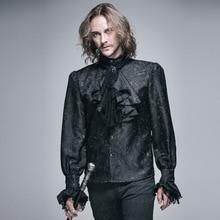 Camisa masculina gótica brilhante, blusa casual de manga longa, estampunk preto e branco, para homens