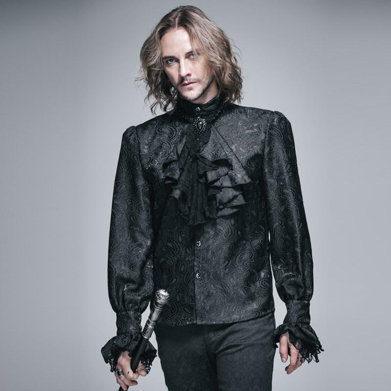 Devil Fashion Gothic Shining Men's Tie Shirt Steampunk Black White Gorgeous Pattern Long Sleeves Shirts Male Casual Blouse Tops