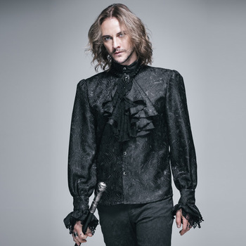 Devil Fashion Gothic Shining Men's Tie Shirt Steampunk Black White Gorgeous Pattern Long Sleeves Shirts Male Casual Blouse Tops black long sleeves rose embroidery pattern cropped top