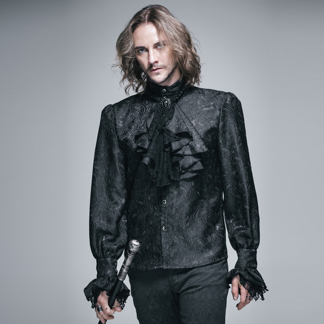 الشيطان موضة القوطية الساطع الرجال التعادل قميص Steampunk أسود أبيض رائع نمط طويل الأكمام قمصان الذكور بلوزة غير رسمية بلايز