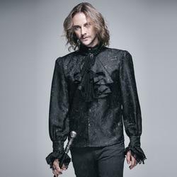 Teufel Mode Gothic Glänzende männer Krawatte Hemd Steampunk Schwarz Weiß Wunderschöne Muster Langen Ärmeln Shirts Männlichen Casual Bluse Tops