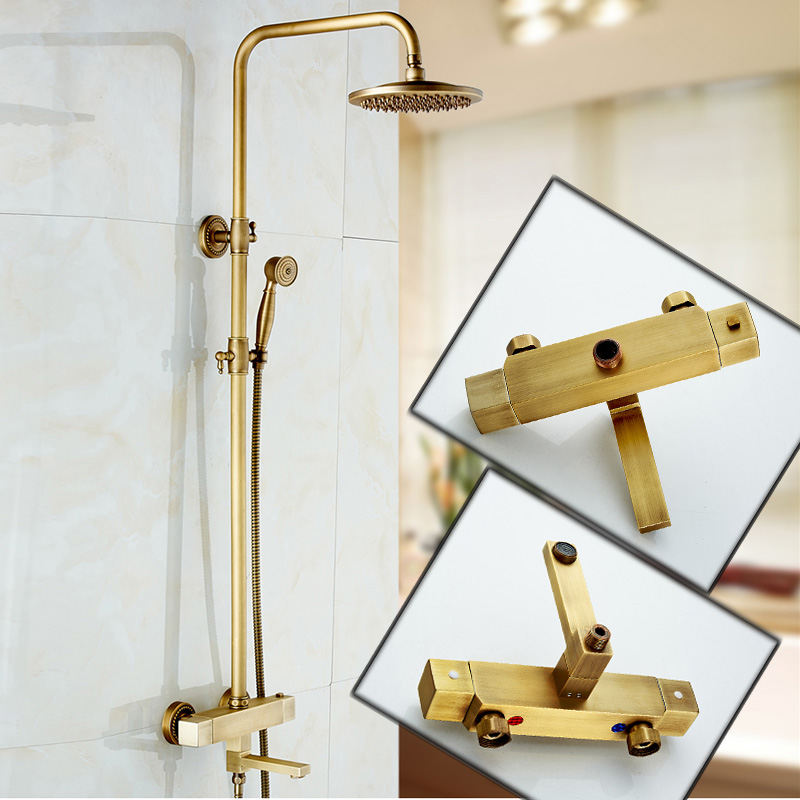 Antique Brass Anti scald Thermostatic Mixer Valve Bath and Shower Faucet Set Dual Handle Brass 8