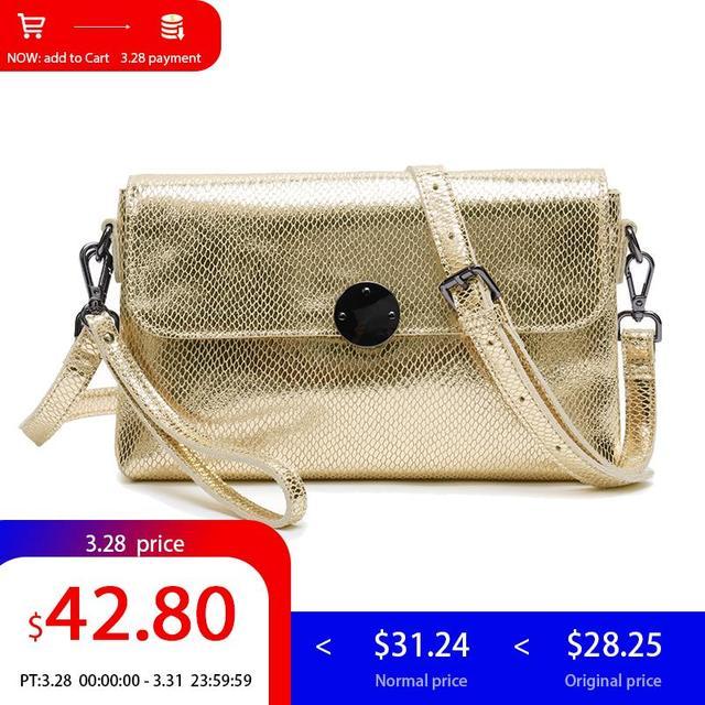3069c9c552 SHARK Shoulder Crossbody Bags For Women 2019 Ladies Genuine Leather Handbag  Women Small Messenger Bag Female Clutch Gold Bag