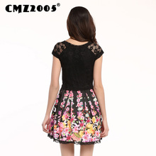 Hot Sale Women's Apparel High-Quality Printing Short Sleeve Round Neck Sexy Mini Fashion Summer Dress Personality Dresses 68053