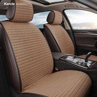 Karcle Universal Car Seat Covers Set Kits Breathable Linen Seat Cushion Protector Pad 4 Seasons Car