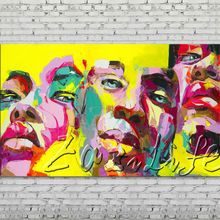Palette knife portrait Face Oil painting Character figure canvas Hand painted Francoise Nielly wall Art picture 507