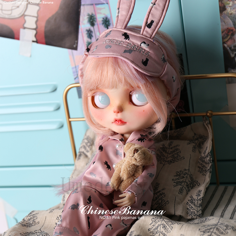 Blyth 인형 의류 액세서리에 대 한 1 pcs 고품질 귀여운 blyth 인형 핑크 고양이 잠 옷 정장 (상단 + 바지 + 눈 패치)-에서인형 액세서리부터 완구 & 취미 의  그룹 3