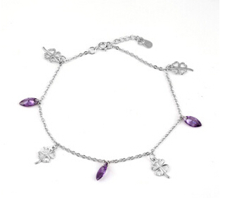 100% 925 sterling silver fashion purple crystal flower ladies`anklets jewelry wholesale drop shipping women anklet gift girl