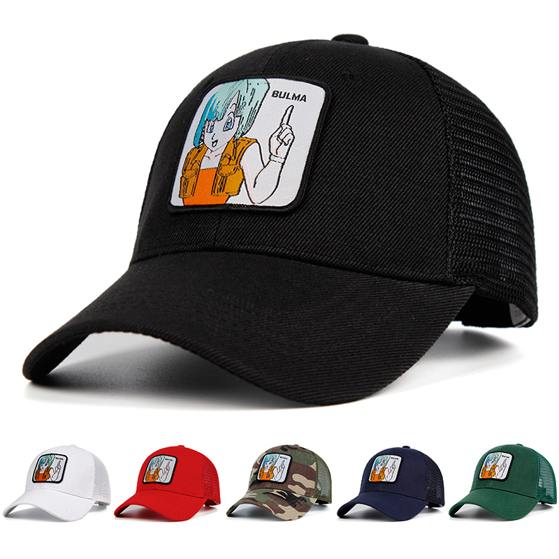 BULMA Mesh Hat Dragon Ball Z Snapback Goku Cotton   Baseball     Cap   Men Women Hip Hop Trucker Dad Hat Summer Dropshipping