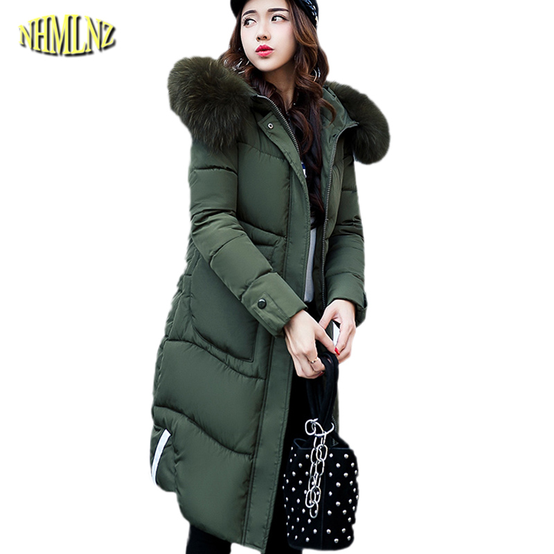 Large size 2017 New Winter Long sleeve Hooded Solid color Women Cotton coat Fashion Slim Warm Casual   women jackets M-3XL WK119 studio m new blue solid women s size large l maxi asymmetrical skirt $78 375