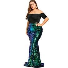 Plus Size 5XL Women Dresses Off Shoulder Sequined Mermaid Dress