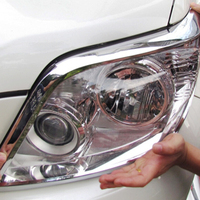 トヨタプラド 2010 2011 2012 2013 ABS クロームフロントヘッドライト眉毛ストリップヘッドランプ装飾カバートリム車のアクセサリー -
