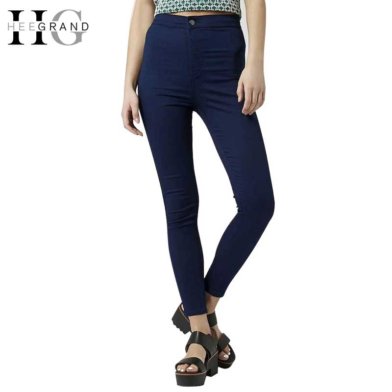 HEE GRAND New Autumn Fashion Pencil Jeans Woman Gray Black Mid Waist Ankle-Length Pant Zipper Slim Fit Skinny Women Pants WKN430 hee grand women s candy pants 2017 pencil jeans ladies trousers mid waist full length zipper stretch skinny women pant wkp004