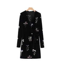 LD Helly Women Autumn Winter Vintage Sexy V Neck Belted Long Sleeve Work Business Party Floral Embroidery Straight Dress Vestido