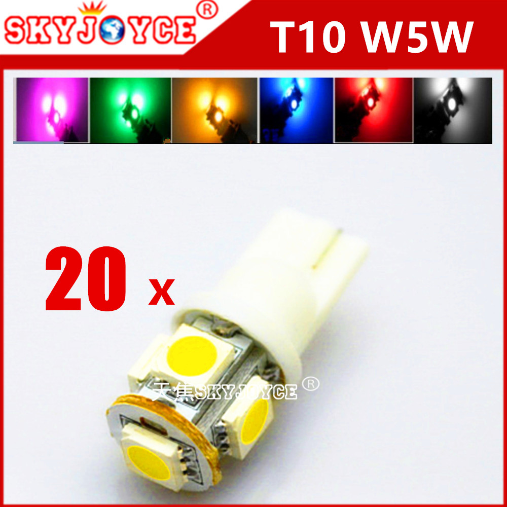 20X car auto light led T10 168 194 t10 wedge bulb white xenon Green Blue Red Purple Yellow parking Fog light led car styling