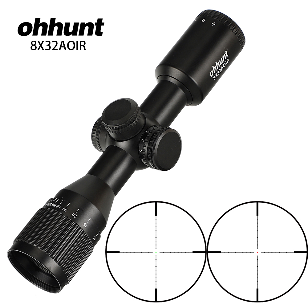 Ohhunt 8X32 AOIR Hunting Compact Rifle Scope Mil Dot Illuminated Glass Etched Reticle Riflescope Tactical Optics Sight