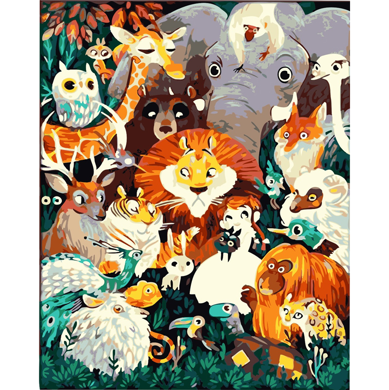 Frameless Animal Kingdom DIY Coloring Oil Painting By