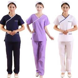 Женская мода скрабы набор цветная блокировка дизайн медицинская Униформа макет обмотка топ с боковым отверстием + Талия на резинке брюки