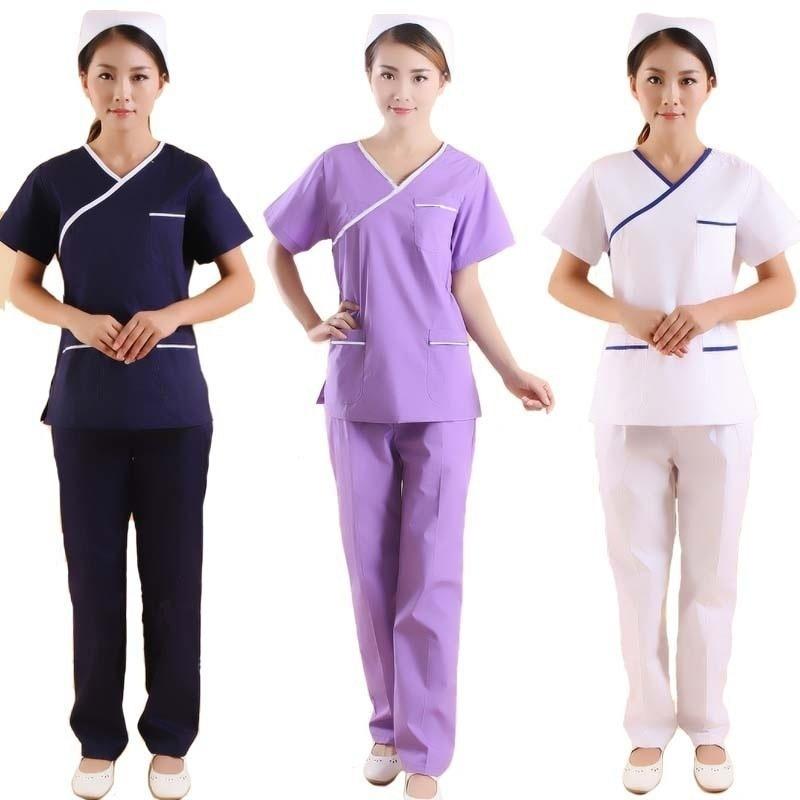 Women's Fashion Scrubs Set Color Blocking Design Medical Uniforms Mock Wrap Top With Side Vent + Elastic Waistline Pants