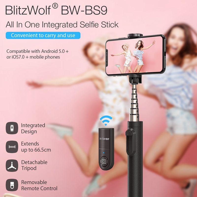 BlitzWolf BW-BS9 All In One Mini bluetooth Selfie Stick Monopod Tripod Integrated Detachable Tripods Selfie Sticks for Iphone