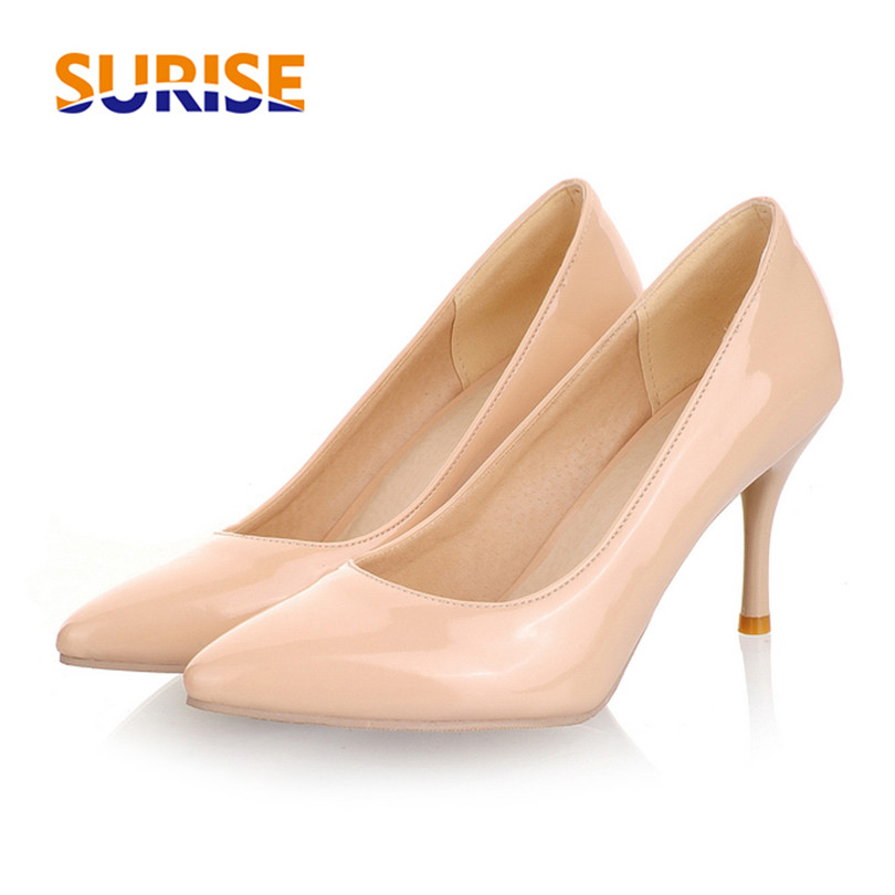 Big Size Summer Thin Spike High Heels Women Pumps Pointed Toe Patent Leather Office Dress Casual Wedding Slip-on Ladies Stiletto shoesofdream women s 2015 summer peep pointed toe red anke strap patent leahter sexy spike high heels